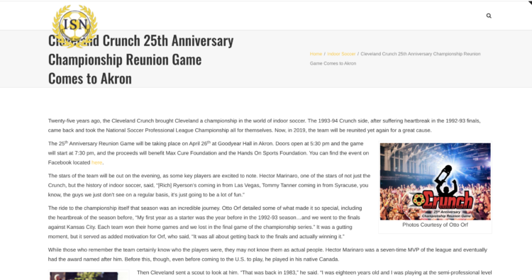 Cleveland Crunch 25th Anniversary Championship Reunion Game Comes to Akron